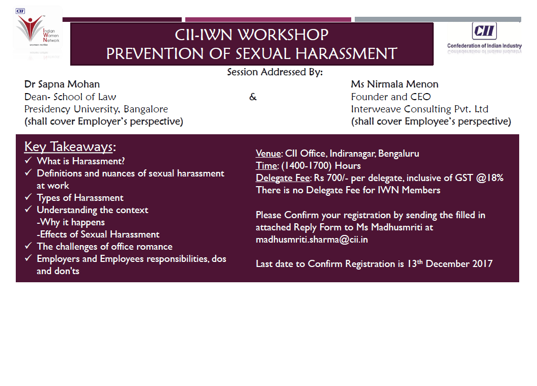 "CII-IWN Workshop on ""Prevention of Sexual Harassment"""