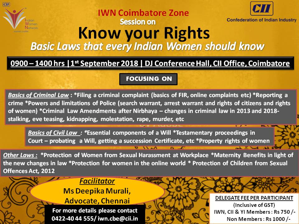 CII-IWN Coimbatore Session on Know Your Rights