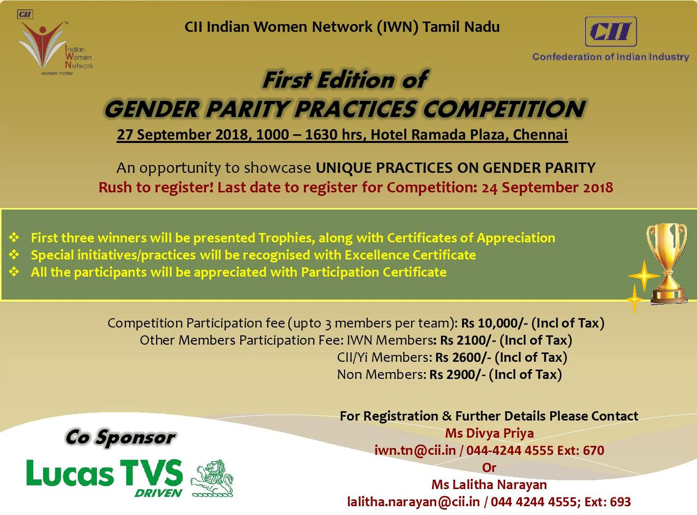 CII-IWN Tamil Nadu First Edition of Gender Parity Practices Competition