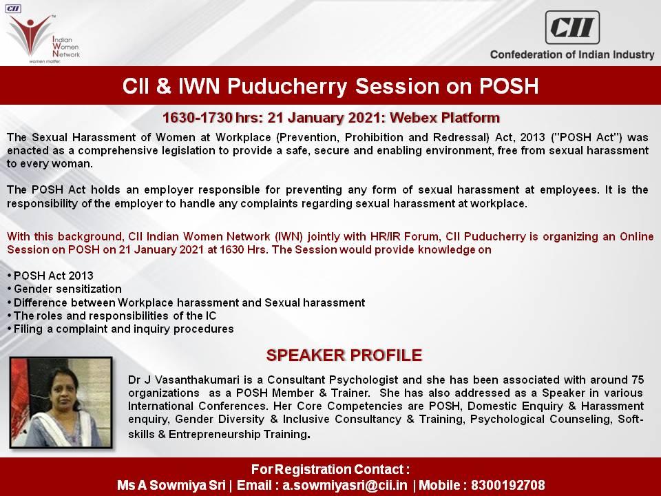 CII & IWN Puducherry Session on POSH