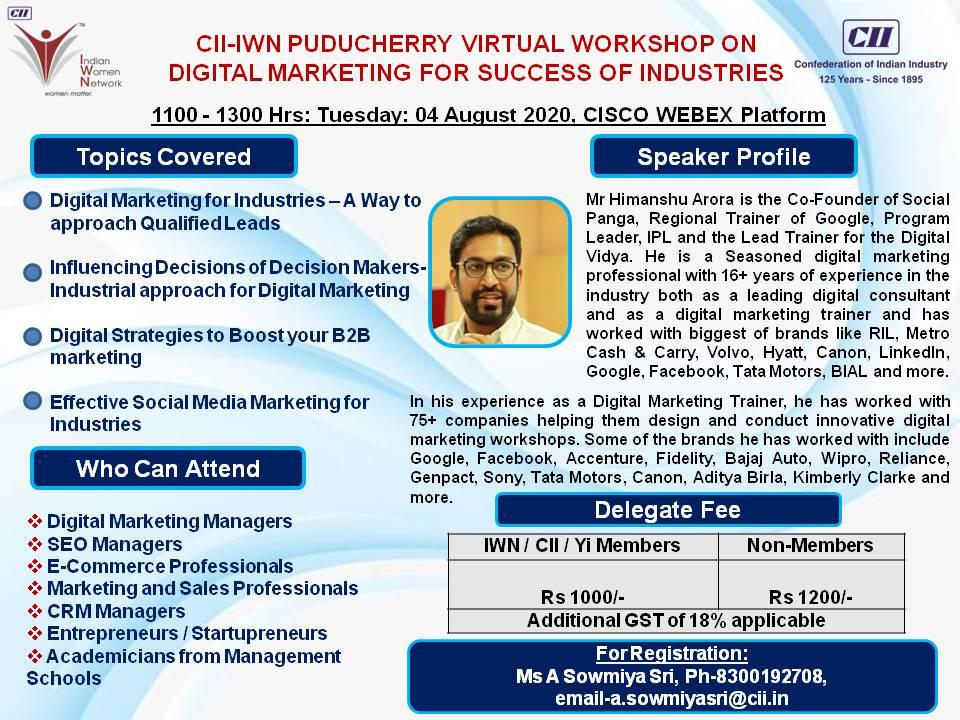 CII IWN Puducherry Virtual Workshop on Digital Marketing for Success of Industries