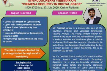 "IWN Puducherry Webinar on ""Crimes & Security in Digital Space"""