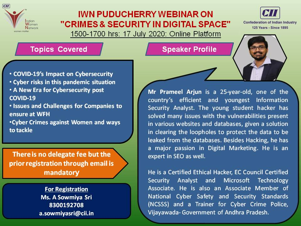 IWN Puducherry Webinar on Crimes & Security in Digital Space