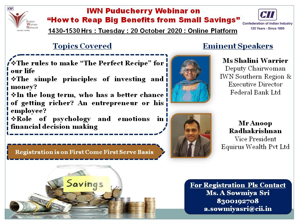 IWN Puducherry Webinar on How to Reap Big Benefits from Small Savings